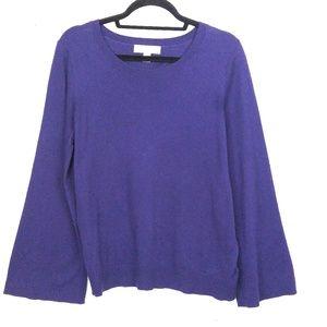 Michael Kors Sweater Sz L Purple Flare Sleeve